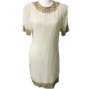 Vintage Laurence Kazar Silk Beaded White Gown